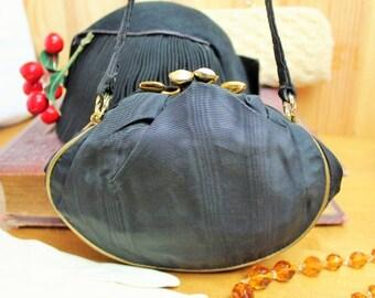 Vintage Black Satin Evening Bag/1940's Handbag/1940's Reenactment/Wedding Accessory   SALE