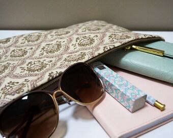 Vintage Floral Zippered Pouch - Bag, Handbag, Purple, Lilac, Lavender, Olive Green  Clutch