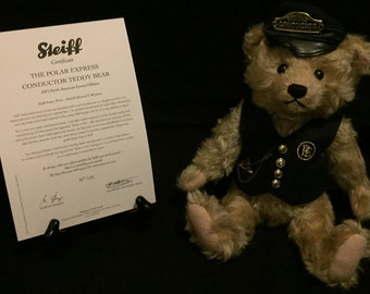 FREE SHIPPING-Steiff-The Polar Express-Conductor-Made In Germany-Mohair-Hand Stitched-Pocket Watch-Teddy Bear-In original Box-COA#682315