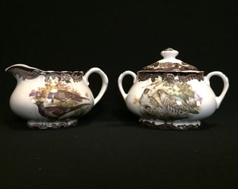 FREE SHIPPING-The Royal Worcester Group-Palissy-England-Est. 1853-Game Series-Birds-Pheasant-Partridge-Duck-Creamer-Covered Sugar Bowl