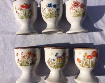6 Vintage Flower Egg Holders Egg Cups Flower Egg Cups 2.5 Inches