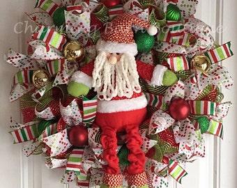 Santa Wreath - Christmas Wreath - Santa Decor - Christmas Decor - Door Decor - Mesh Christmas Wreath