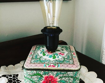 Upcycled Table Lamp - Vintage Tin Table Lamp
