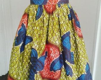 Samantha Green Butterfly African Wax High Waist Dirndl Skirt - One of a kind
