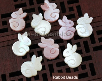 Natural Shell Rabbit Charm Beads, Cute Animal Beads for DIY Jewelry Making (HX214)