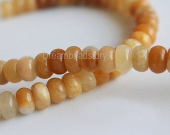 Natural Yellow Jade Semi Precious Gemstone 3*6mm 5*8mm Rondelles Beads Supplies