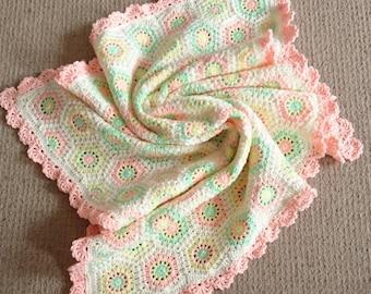 "Crochet Hexagon Baby Blanket Cream White Pastels 32"" x 34"" babygift"