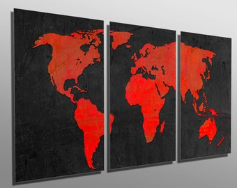 Metal Print   Black And Red World Map   3 Panel Split (Triptych)