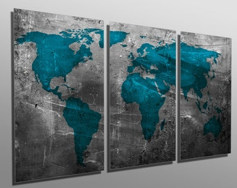 Metal Prints - Abstract Teal World Map - 3 Panel split, Triptych - Metal wall art. HD aluminum prints for wall decor & interior design.
