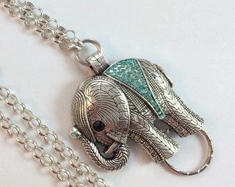 Sparkly  Blue Crystal Elephant Lanyard, Silver Chain Lanyard,  Elephant ID Holder, Badge ID Holder, Badge Chain,  - Breakaway Optional