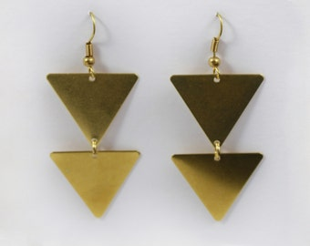 Brass triangle Pyramid Earrings