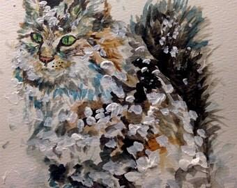 Cat in Snow Original Watercolor Painting Fine Art by Cris Clapp Logan