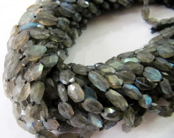Genuine Blue Flashy Mani Shape Labradorite Beads/ Oval Faceted Beads Size 5x7 to 6x9mm/ Sold per strand of 13 inch long/ Semi precious Beads