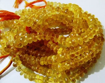Top and Finest Quality Genuine Citrine Beads / Rondelle Faceted 9mm to 10mm Size Beads / Sold per strand of 10 inch long- Wholesale Price