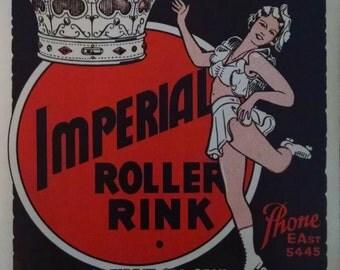 Vintage Roller Skate Sticker - Imperial Roller Rink - Portland
