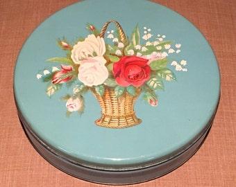 Vintage Blue Tin, Vintage Blue Floral Tin, Vintage Candy Tin, Blue Floral Bouquet Tin