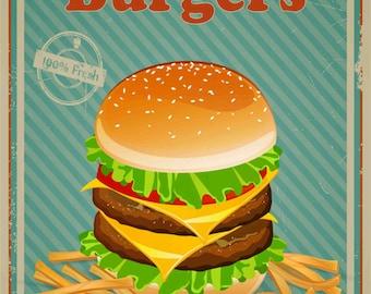 Burgers,Vintage Style Metal Sign, Business Decor No 364