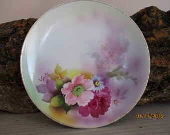 Noritake Hand Painted Pink Blue & Purple Floral China Dessert Plate