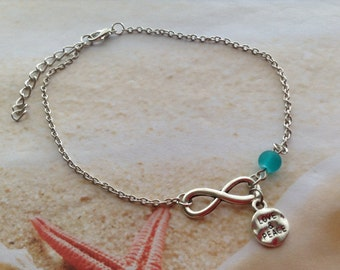 Nautical Beach Wear Jewellery Ocean Blue Seaglass Bead Infinity Charm Hippie Love and Peace Silver Tone Anklet Chain