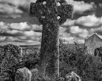 Fine art photography. Celtic stone cross. Photographic print. Gothic wall art. Tintagel Cornwall. Landscape photography. Gravestone.