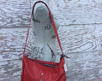 Red cow hide leather lucy bag