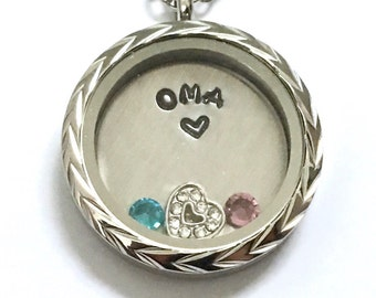 OMA - Floating Charm Memory Locket - Custom Hand Stamped Gift for Oma