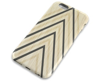 Wood Grain Chevron Cell Phone Case, Wood with Navy Stripes, Mens, Masculine, Hipster, Apple iphone, Samsung Galaxy, Note, Edge, Plus