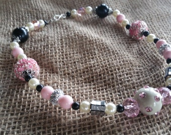 Pink, Black, White Mix Necklace