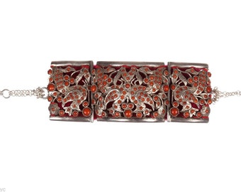 Indian Sterling Silver and Red Coral Bracelet