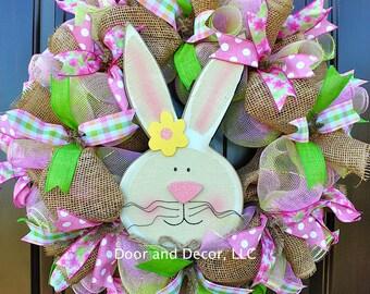 baby wreath for door~bunny wreath~baby bunny wreath~burlap wreath~burlap spring wreath~baby girl wreath