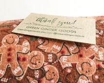 Unpaper Towels / Cloth Napkins / Snapkins / Reusable Paper Towels, Set of 12 gingerbread men print