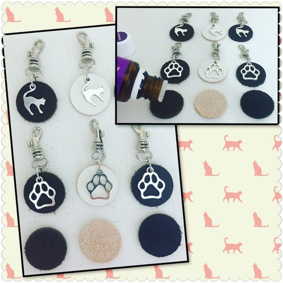 pet dog cat essential oil diffuser leather tags clip on collar. Black Bedroom Furniture Sets. Home Design Ideas