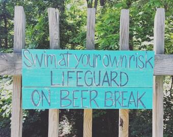 Handpainted Pool Sign