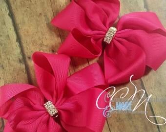 2 Piece Pink Rhinestone Hairbow