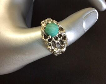 Vintage Malachite Sterling Silver Ring Size 9.5