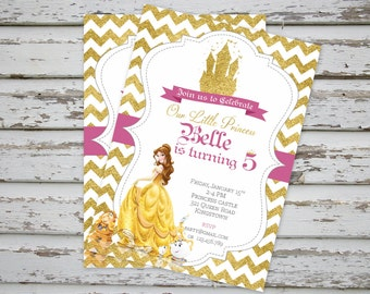 Princess Belle Invitation, Princess Aurora Belle Cinderella Ariel Snow White Brave Invitation Princess Sparkly Glitter Invitation PRINTABLE