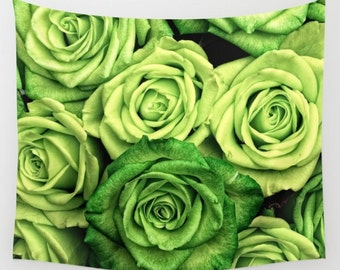 Wall Tapestry. Roses Tapestries. Flowers Wall Tapestry. Blossoms. Nature Tapestry. Green Tapestries. Photography Tapestries. Fancy Mural