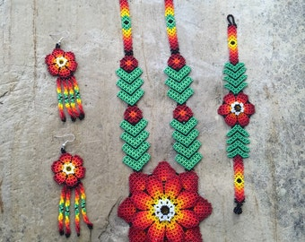 Huichol beaded set includes earrings and bracelet