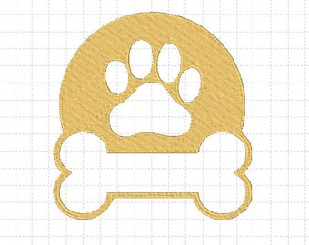 Paw and Bone Embroidery Design, Applique, 4x4, 5x7, Instant Download