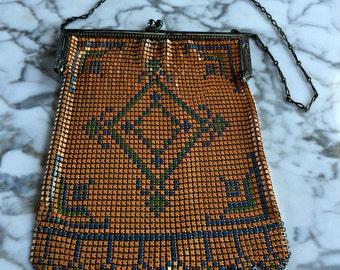 Vintage Orange handbag, Vintage  1920s Handbag, Whiting and Davis Handbag, Flapper Purse