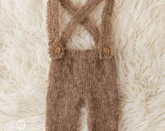 UK Seller, Brown / Beige Newborn overalls, Newborn pants with braces, Newborn  boy,Newborn girl, alpaca yarn, photography props, handmade