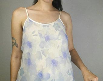 """Vintage 1990s Valerie Stevens White + Blue Floral Sheer Camisole Tank size M/L (bust 36"""")"""