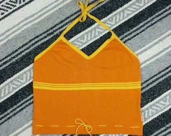 "Vintage 1970s Orange Striped Draw String Knit Halter Crop Top size S/M (bust 30"")"
