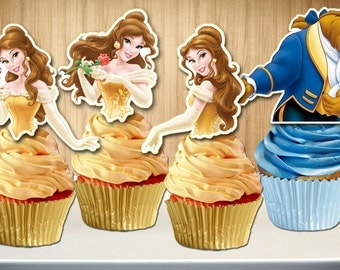 Princess Belle Cupcake Toppers, Beauty and the Beast Cupcake Toppers, Cupcake Picks,  DIY Printable, INSTANT DOWNLOAD