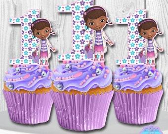 Doc Mcstuffins Cupcake Toppers, Cupcake Picks PRINTABLE, You Print