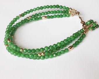 Gold bracelet, bracelet with jade, bracelet with green, bracelet with gold, jade bracelet, green bracelet, Jade, Goldfill, goldfilled