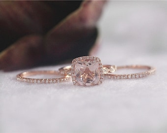 14K Rose Gold Cushion Cut 9mm Morganite Engagement Ring Morganite Diamond Ring Wedding Ring Gemstone Ring Set