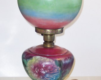 """Vintage Gone with the Wind lamp, pink, green and blue, 26"""" X 9"""""""