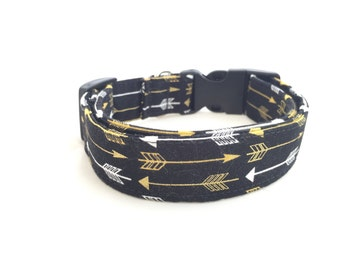 "Dog Collar- ""Metallic Arrow"" / Girl Dog Collar/ Boy Dog Collar/ Metal or Plastic Buckle/ Adjustable Durable Collar"