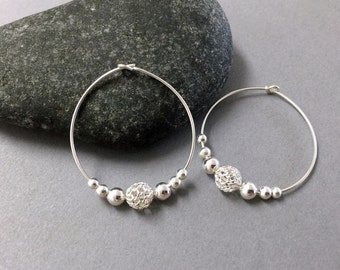 Sterling silver hoops, Lace bead hoop earrings, Bridesmaids earrings, Sterling silver hoop earrings, Large silver hoop earrings